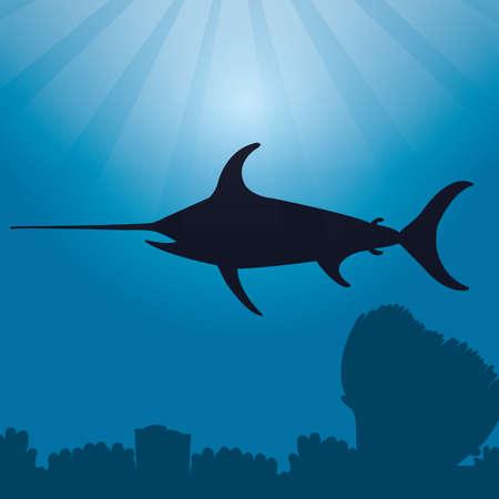 pez espada: silueta de pez espada Vectores