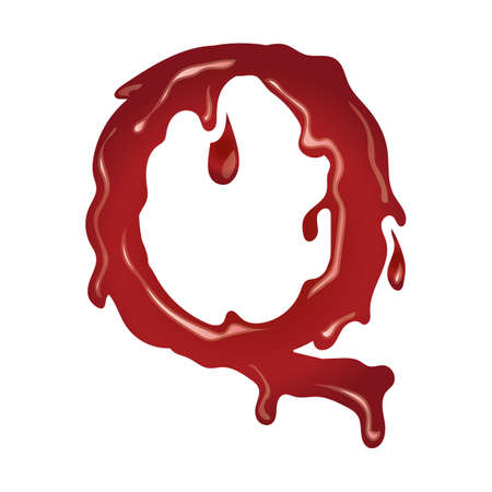 q: letter q with dripping blood