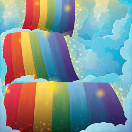 shimmery: rainbow amongst clouds Illustration