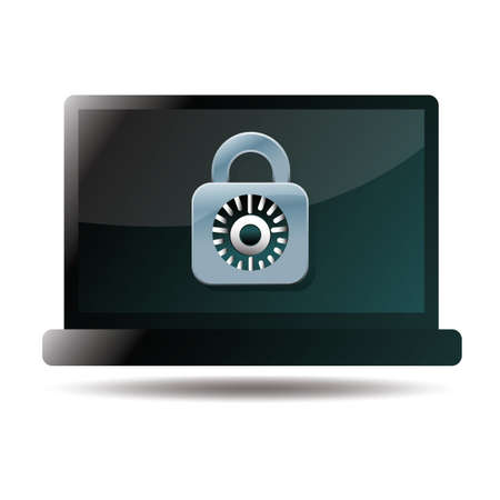 security icon: laptop with security icon Illustration