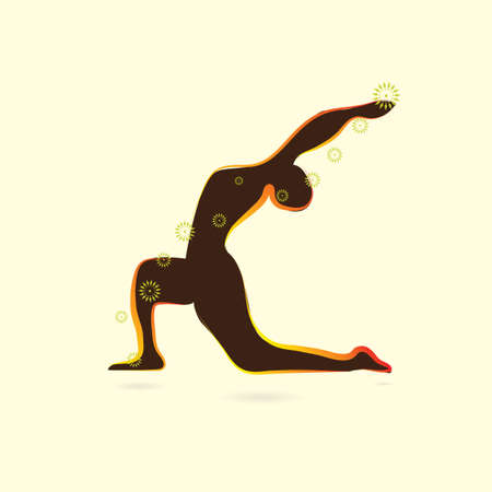 lunge: woman silhouette practising yoga in low lunge pose Illustration