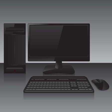 on computer: desktop computer Illustration