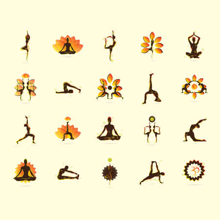 variety: set of yoga icons