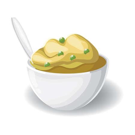 Puré de patatas con guisantes Foto de archivo - 53527030