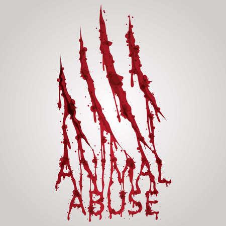 animal abuse: bloody animal abuse text with scratch wounds