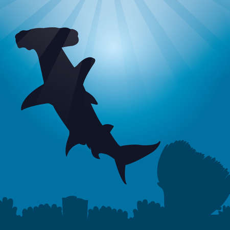 hammerhead: great hammerhead shark silhouette Illustration