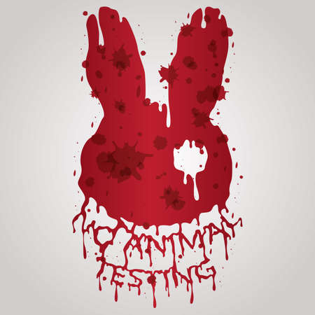 bloody no animal testing label Иллюстрация