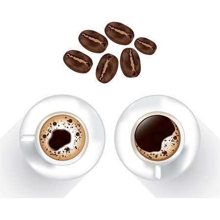 coffee beans: coffee beans with coffee cup