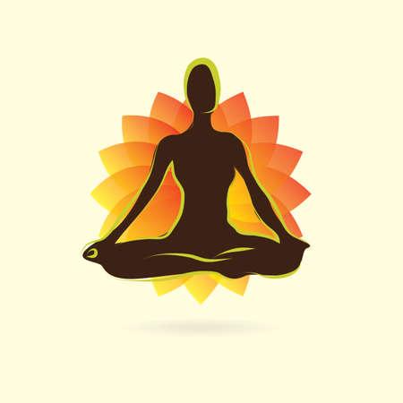 lotus pose: woman silhouette practising yoga in lotus pose
