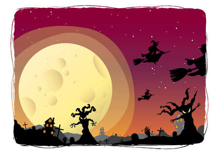 broomstick: witches on a broomstick flying Illustration
