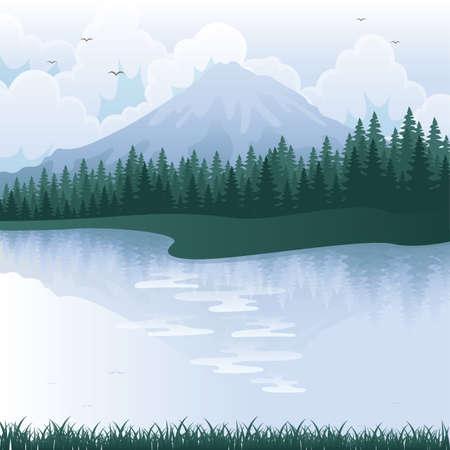 alpine: mountain landscape Illustration