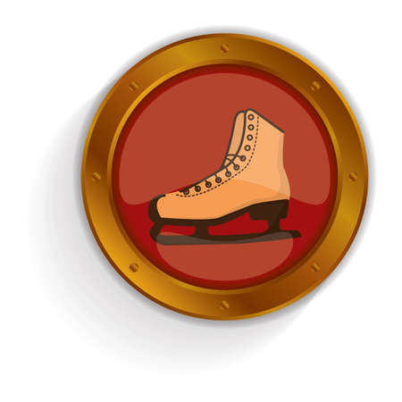 ice skate: ice skate button Illustration