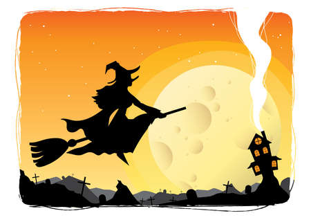 broomstick: witch flying on a broomstick