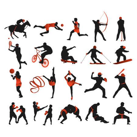 collectie van sporters Stock Illustratie
