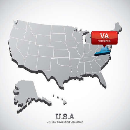 virginia: virginia state on the map of usa