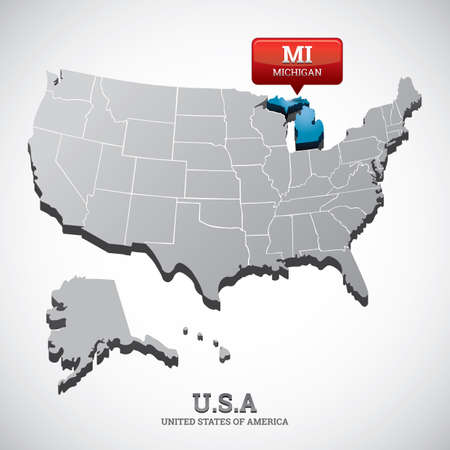 michigan: michigan state on the map of usa