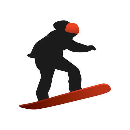 snowboarding: silhouette of man snowboarding