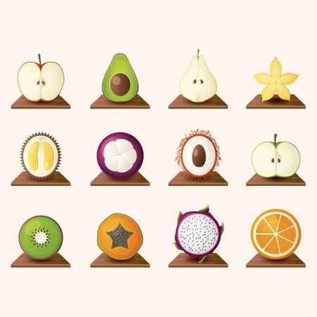 green apple slice: fruits icon set Illustration