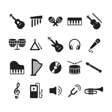 collection of musical instruments 矢量图像