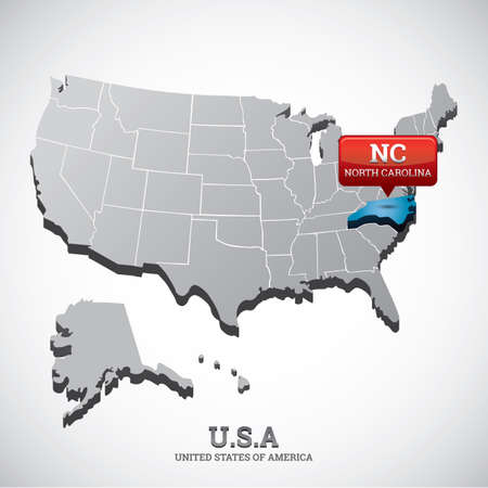north carolina: north carolina state on the map of usa Illustration