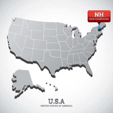 hampshire: new hampshire state on the map of usa