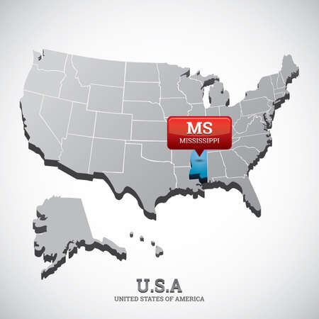 mississippi: mississippi state on the map of usa Illustration