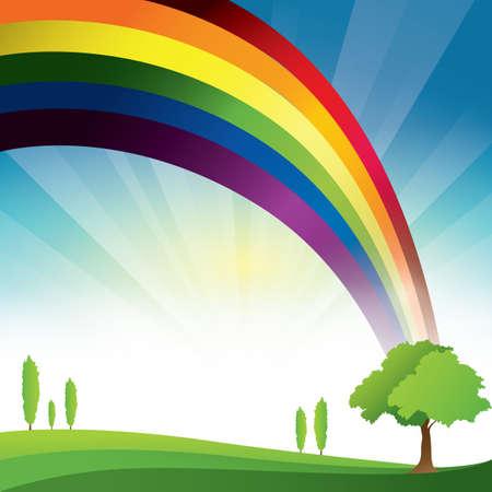 rainbow: landscape with rainbow Illustration
