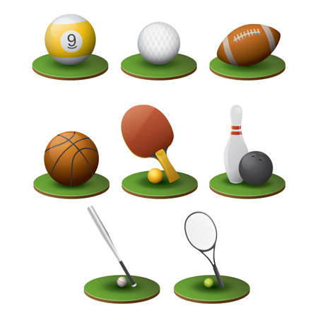 american table: set of sports equipment