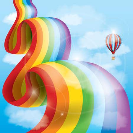 air: rainbow with hot air balloon Illustration