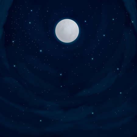 night moon: night sky background Illustration