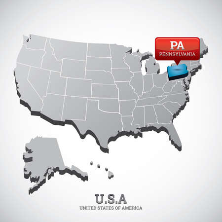 indicate: pennsylvania state on the map of usa Illustration