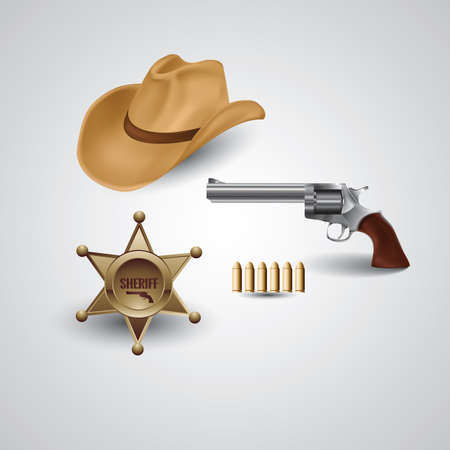 sheriff badge: cowboy hat with revolver and sheriff badge