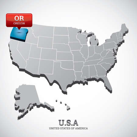 oregon: oregon state on the map of usa Illustration