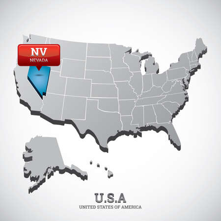 nevada: nevada state on the map of usa