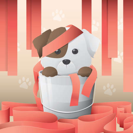 pail: cute puppy in a pail Illustration