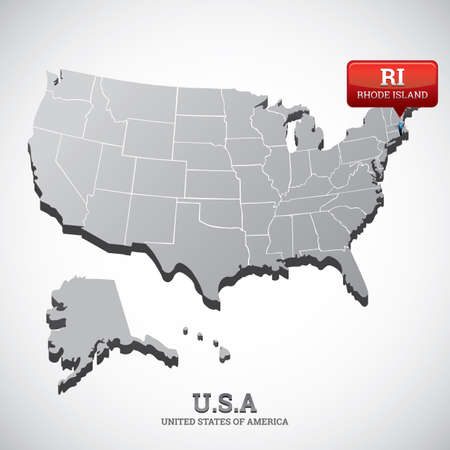 island state: rhode island state on the map of usa