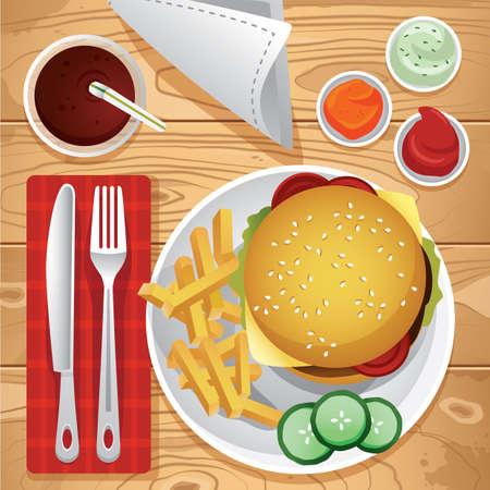 meal: meal served on table Illustration