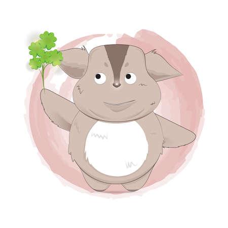 creature: creature cartoon holding a leaf Illustration