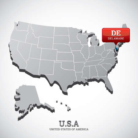 delaware: delaware state on the map of usa
