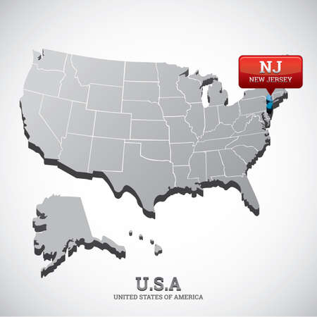 new jersey: new jersey state on the map of usa