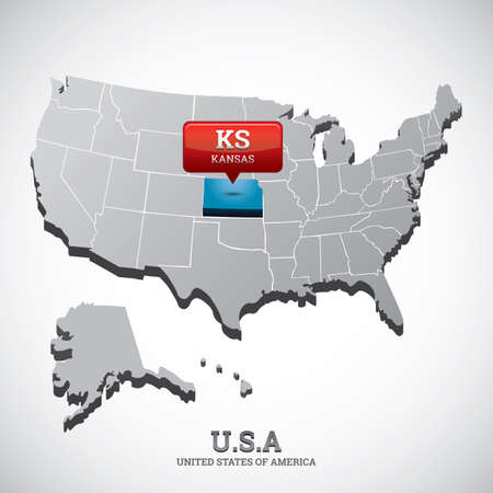 indicate: kansas state on the map of usa Illustration