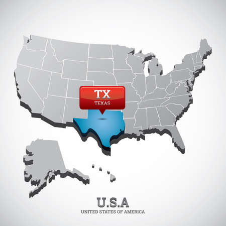 texas state: texas state on the map of usa Illustration