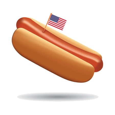 アメリカの国旗を持つホットドッグ  イラスト・ベクター素材