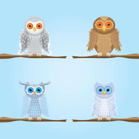 perched: owls perched on stem Illustration