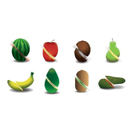 sliced fruit: sliced fruit set Illustration