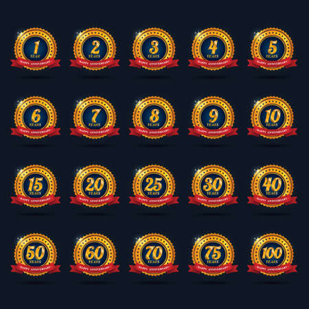 one hundred and ten: set of anniversary labels Illustration