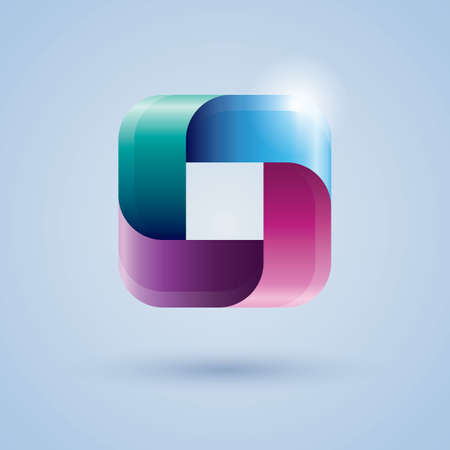 square abstract: square ribbon icon Illustration