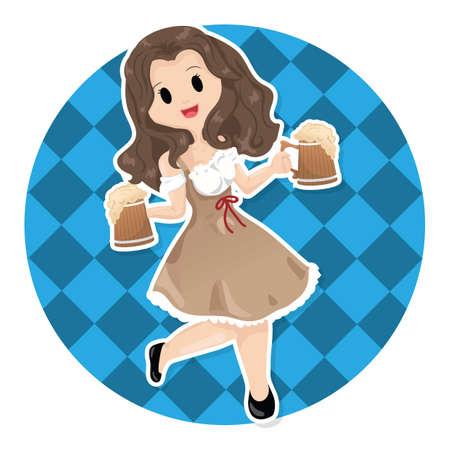 girl: girl holding beer mugs