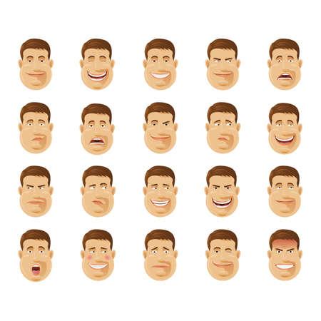 desconfianza: el hombre con la colección de diversas expresiones