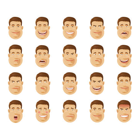 scheming: man with various expressions collection Illustration